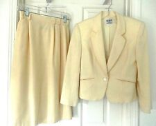 KORET Petite 100% Pure Wool Skirt Suit Set- 8P, cream