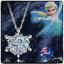 925 Sterling SILVER Frozen Princess ELSA  Blue SNOWFLAKE Crystal NECKLACE Chain