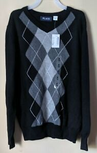 NWT The Children's Place Boy's Argyle Sweater Size  7-8 Black & Grey Pullover