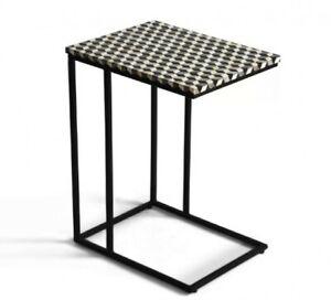 Bone Inlay Rectangular Side Table Black Geometric (MADE TO ORDER)