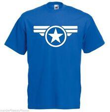 captain america winter soilder mens blue loose fit fotl mans top logo film L