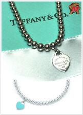 Return to Tiffany Sterling Silver Bead Bracelet Blue Enamel 7 Inch