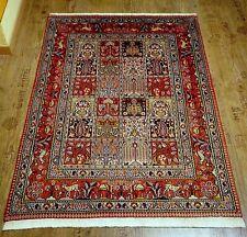 Wunderschöner Perser Teppich *Moud* Felder Tiere Seide Rug Tapis Tappeto 147x100