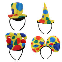 Polka Dot Clown Hat Headband Jester Hairband Circus Costume Party Fancy Dress