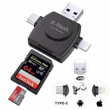 4 in 1 Micro USB Type C Adapter SD/TF Card Reader For Apple iPhone/IOS/Android