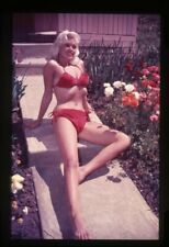 Jayne Mansfield Busty Leggy Red Bikini Pinup Barefoot Vintage Dupe Transparency