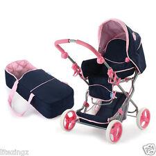NEW Julia Dolls Stroller Pram & Carrycot + Bag- Navy & Pink - Hauck Classic Toys