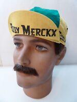 Vintage NOS Classic EDDY MERCKX Green Yellow Cotton Cycling Cap RARE