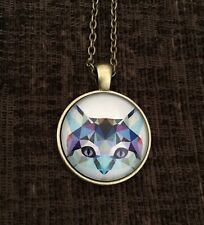 Geometric Cat Art Glass Fashion Necklace With Bronze Coloured Chain