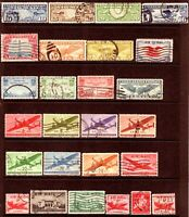 Used Lot of 100 US Airmail Stamps All Different