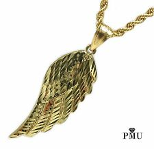 Feather 10k Yellow Gold Men's Pendant with Rope Chain Set Hiphop Fine Jewelry