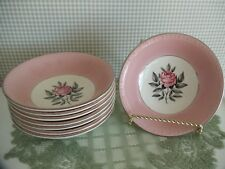 Cunningham & Pickett Vintage NORWAY ROSE Pottery BERRY/DESSERT BOWLS ~ Set of 8