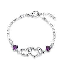 Women 925 Sterling Silver Filled Love Heart Crystal Charm Bracelet Chain Gift