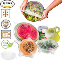 Set of 6 Silicone Lids for Bowls Cups Food Cover Food Saver Stretch Lid Wrap New