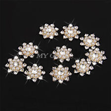 Aleación de oro corazón Hazlo tú mismo Flatback Cabochon adorno perla del Rhinestone Diamante