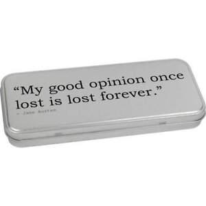 Quote By Jane Austen Metal Hinged Tin / Storage Box (TT217742)