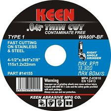 "200 Pack- STAINLESS THIN Cut Off Wheel 4-1/2""x.045""x7/8"" KEEN Abrasives 14152"