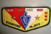 OA STANFORD-OLJATO LODGE 207 STANFORD AREA COUNCIL PATCH GMY 50TH ANN 1991 FLAP