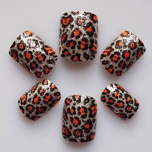 24 False Nails, Glitter Nail, High Quality Artificial Nail Tips #Glitter Leopard