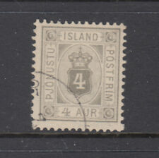Iceland Sc O11 4 Aur Grey perf 13 Very Fine Used