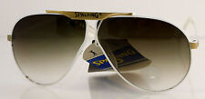 Nos Vtg 80s White Spalding Aviator Metal Sunglasses -Taiwan - Top Gun