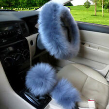 NEW 3pcs Faux Fur Car Steering Wheel Cover Set Stone Blue Wool Winter Universal