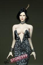 1/6 Scale Black White Custom  Female Deep V Shirt Long Dress F 12'' PH Body