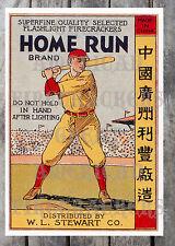 Vintage Poster Reprint Homerun Brand Flashlight Firecrackers M80'S, Etc