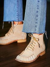 Faryl Robin x Free People Tan Suede Gavin Lace Up Boots Size 8 $208 NWOB
