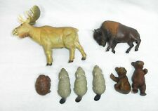 Vtg Schleich/AAA Plastic Animals - N. America Lot 8pc Beavers Bison Moose Bear