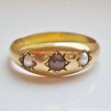 Stunning Antique Victorian 9ct Gold Garnet & Pearl Ring c1898; UK Size 'K 1/2'