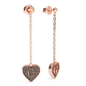 Guess UBE79079 G Shine Rose Gold Plated Black Heart Drop Earrings