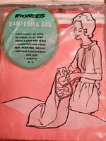 Nos Vintage Dampening Bag Coral Pink Plastic Zipper Ironing Clothing Water Proof