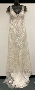 Mori Lee Madeline Gardner White Embellished Lace Wedding Dress Size 14 G174 A5