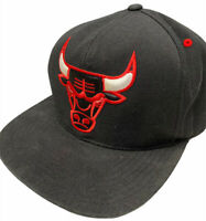 Chicago Bulls Mitchell & Ness Snapback Hat Cap Black Red Hardwood Classics