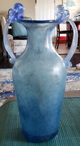 P RUBELLI 1950'S MURANO LARGE SCAVO DOUBLE HANDLE VASE WITH LABEL