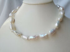 18-25mm baroque white genuined cultured freshwater pearl necklace USA BY EUB