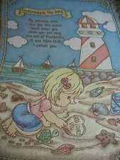 PRECIOUS MOMENTS.FOOTPRINTS IN THE SAND.GOD.PRAYER.BEACH.WOVEN AFGHAN THROW