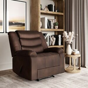 Hudson Microfiber Single Chair Manual Recliner Relaxing Cushioned (Cedar Brown)