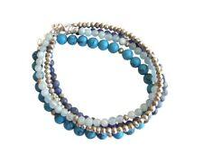 Gemshine Armband Set Sea Silber Türkis Aquamarin Lapis Lazuli Blau 925 Silber