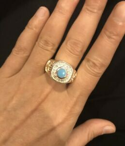 Sterling Silver 925 Mens Ring With Turquoise Stone And Cross Pattern