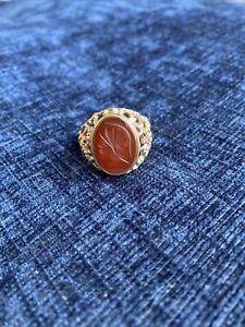 Vintage Men's 9ct Gold Carnelian Intaglio Signet Ring