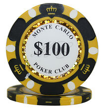 50pcs 14g Monte Carlo Poker Club Casino Poker Chips $100