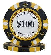 100pcs 14g Monte Carlo Poker Club Casino Poker Chips $100