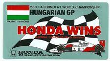 Autocollant sticker Formula 1 F1 McLaren Honda SENNA BERGER 1991 Hungarian GP
