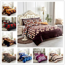 3 Piece Reversible Warm Flannel Plush Sherpa Borrego Blanket Queen/King Size