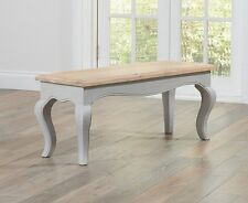 Adele French Painted Acacia Dining Room Furniture Dining Bench GREY