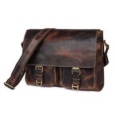 Mens Genuine Leather Shoulder Messenger Bag Satchel Laptop Bags Day Pack Brown