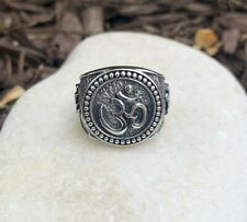 Men's solid 925 Sterling Silver Oxidized Om Ring love protection Size 8 and 9