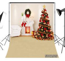 Xmas Tree Fireplace White Sofa 8X10FT Vinyl Studio Backdrop Photo Background LB